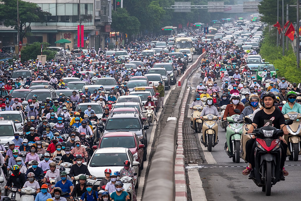 Hanoi, Vietnam, Is Packed at Rush Hour