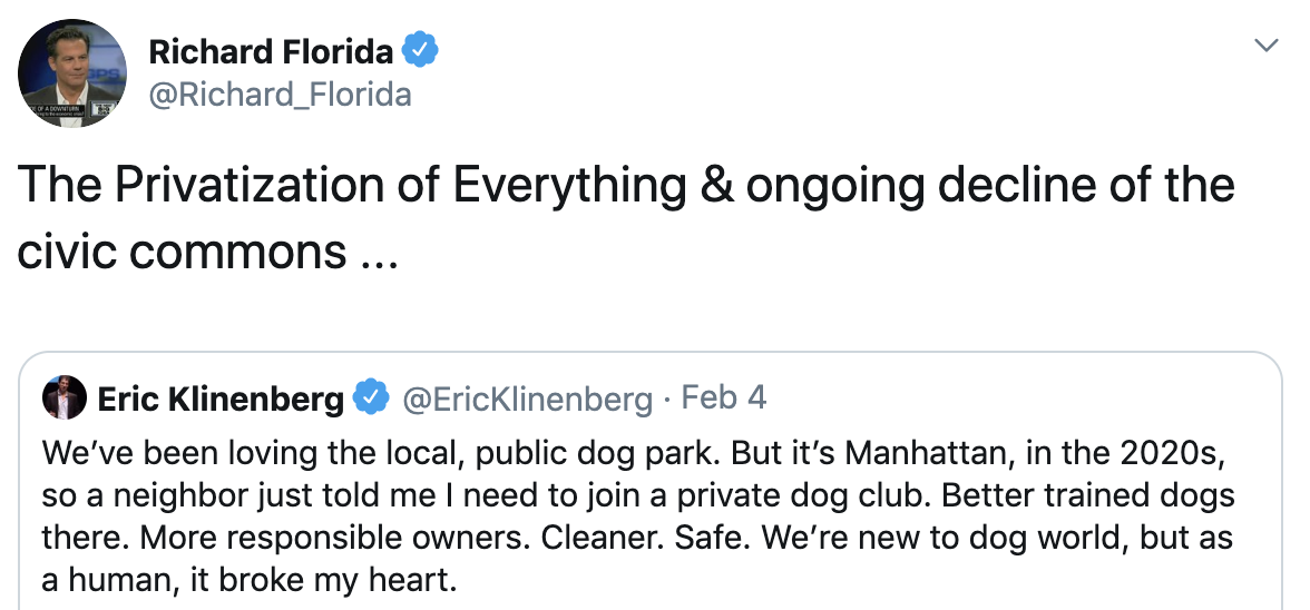 A tweet about dog parks