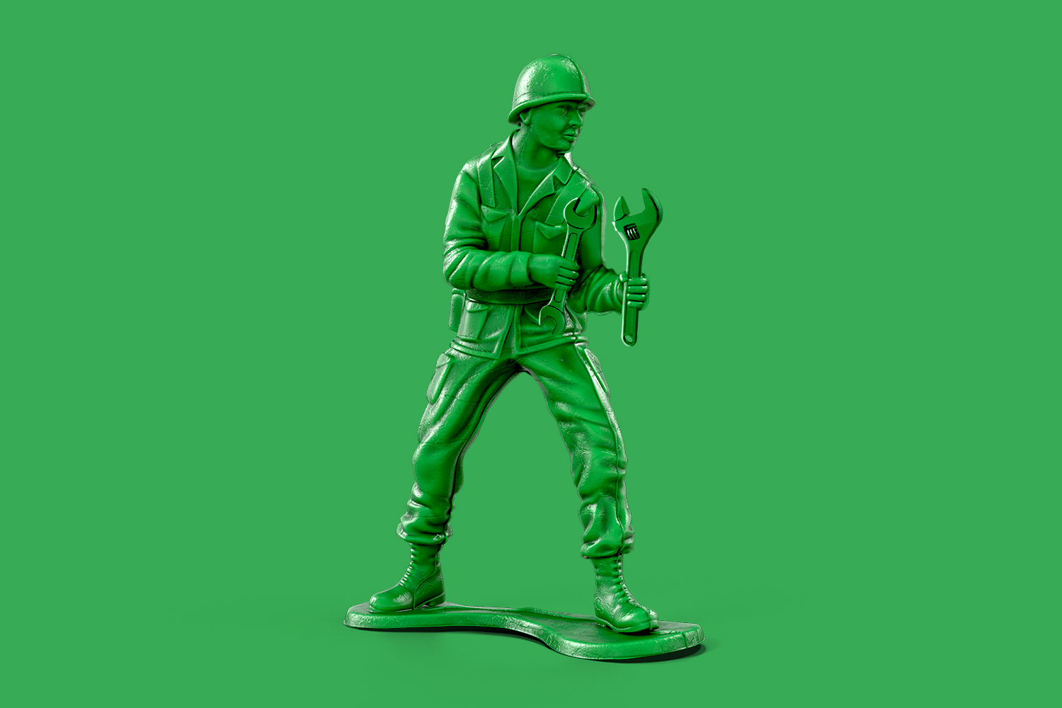 Army man toy with a wrench