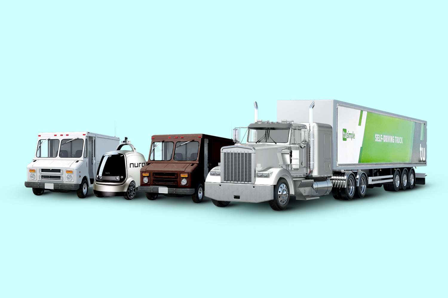 Self-driving delivery trucks from Nuro and TuSimple alongside the more conventional UPS/USPS/Fedex boxy trucks