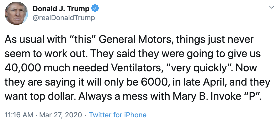 Trump tweet about GM