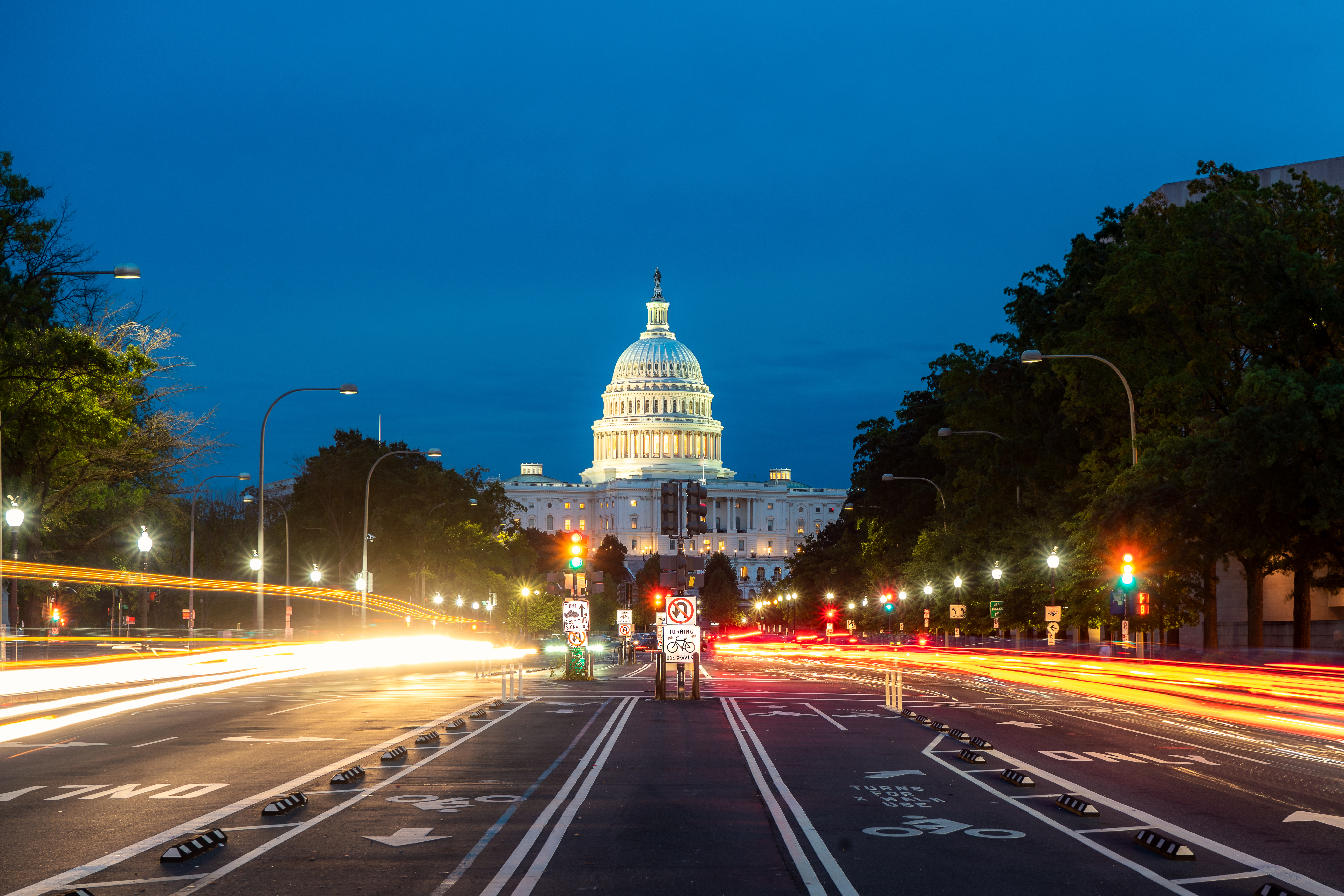Downtown Washington, D.C., at night